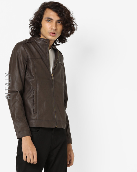 Biker Jacket With Front Zipper By ALCOTT ( Brown )