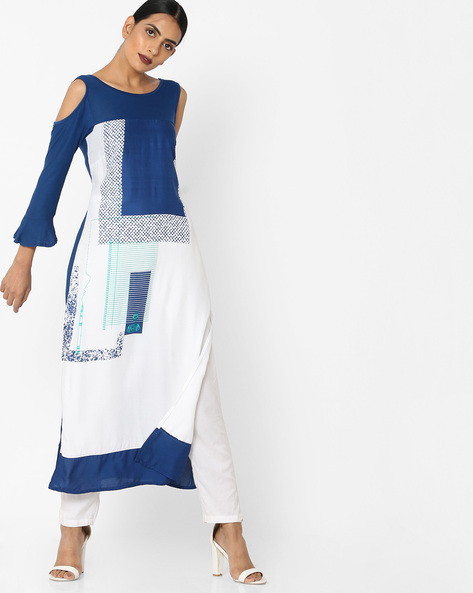 Printed Straight Kurta With Bell Sleeves By Rangmanch By Pantaloons ( Offwhite )