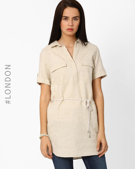 Linen Herringbone Tunic Shirt By Marks & Spencer ( Beige )