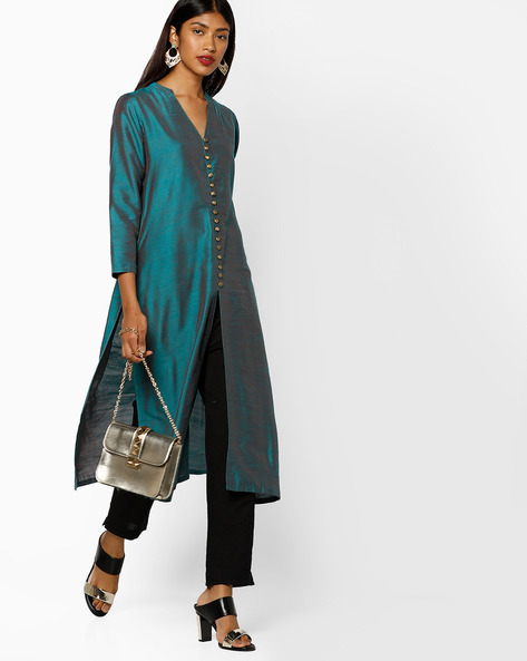 Straight Kurta With Front Slit By Shree ( Green )