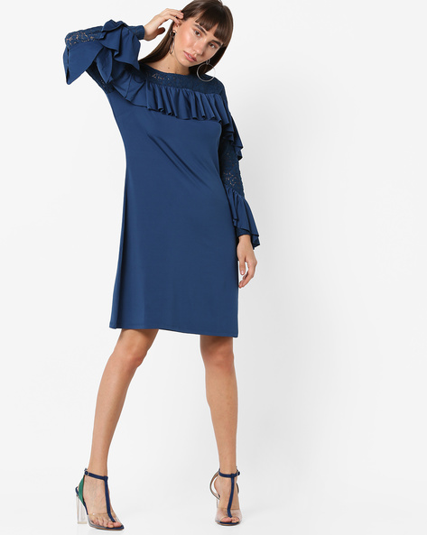 Ruffled Shift Dress With Tiered Sleeves By AJIO ( Blue )