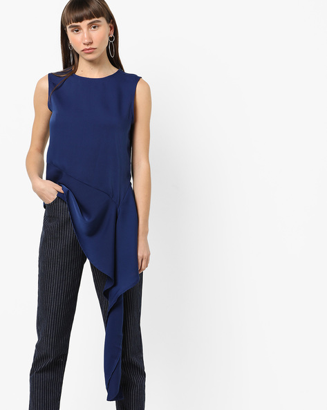 Sleeveless Top With Asymmetrical Hemline By AJIO ( Blue )