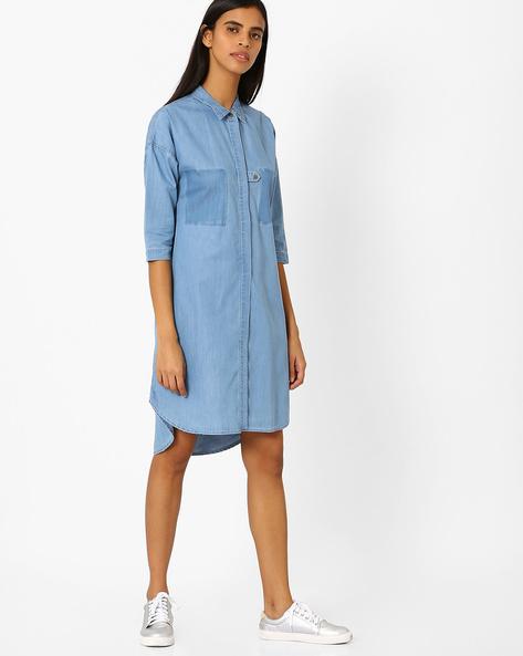 High-Low Hem Shirt Dress By AJIO ( Lightblue )