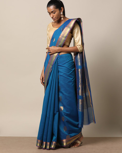 Uppada Style Mercerised Cotton Saree With Zari Buti By Indie Picks ( Darkblue )