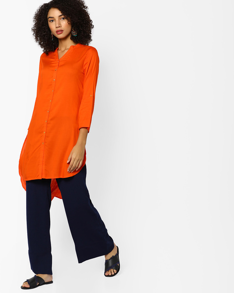 High-Low Kurta With Button Placket By Melange By Lifestyle ( Orange )