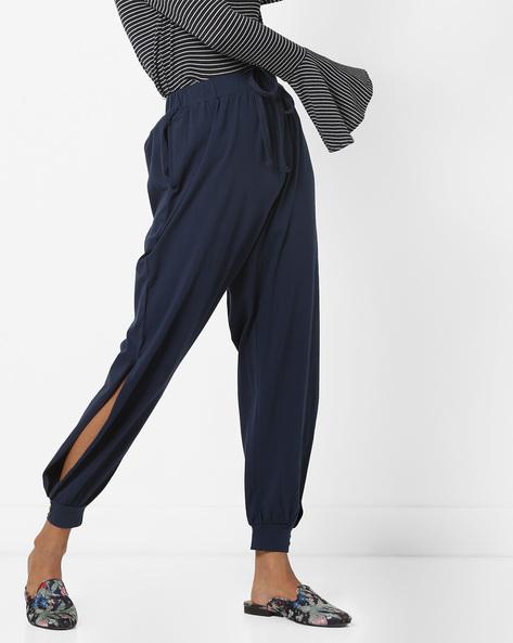 Cuffed Track Pants With Drawstring Waist By AJIO ( Navy )