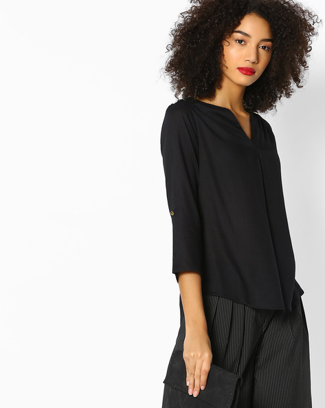 High-Low Top With Roll-Up Tabs By FIG ( Black )