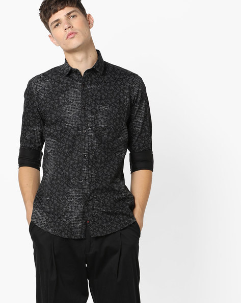 Printed Shirt With Patch Pocket By Killer ( Black )