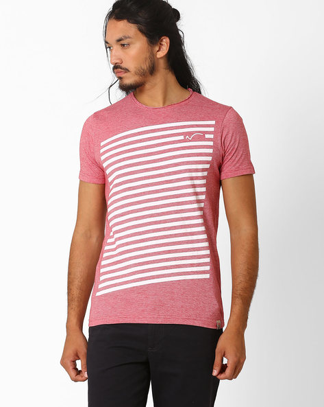 Graphic Print Cotton T-shirt By SIN ( Red )