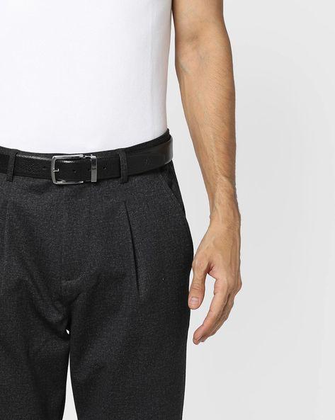 Textured Genuine Leather Belt By ALVARO CASTAGNINO ( Black ) - 460135785001