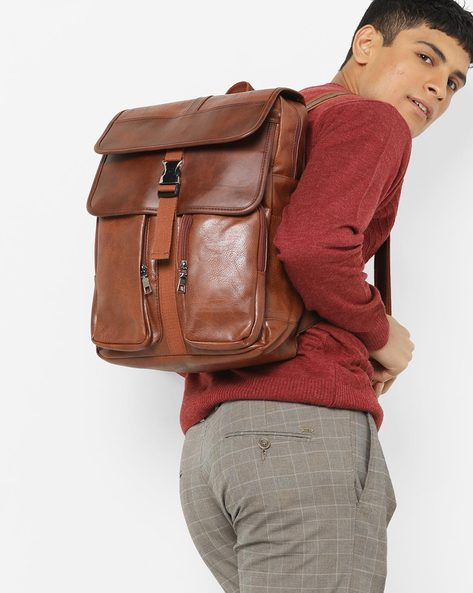 Laptop Backpack With Flap Closure By AJIO ( Tan )