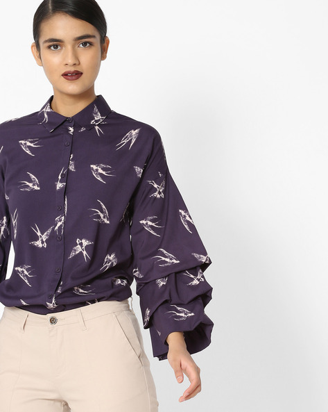 Printed Shirt With Tiered Ruffled Sleeves By Oxolloxo ( Black )