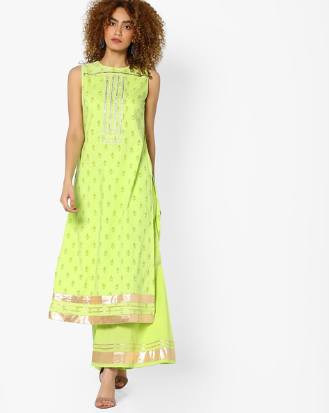 Printed Straight Kurta With Gota Embroidery By AJIO ( Limegreen )