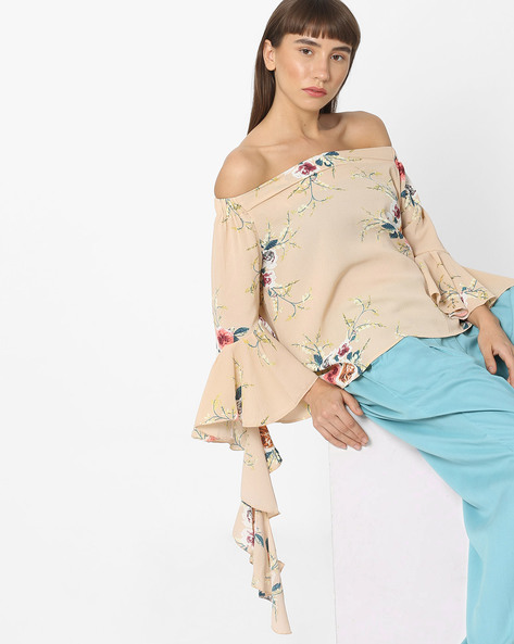 Floral Print Off-Shoulder Top By Ginger By Lifestyle ( Beige )