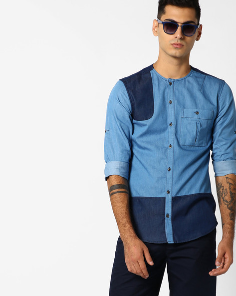 Collarless Denim Shirt With Patch Pocket By ADAMO LONDON ( Blue )