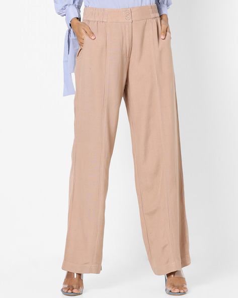 Palazzo Pants With Elasticated Waist By Oxolloxo ( Nude )