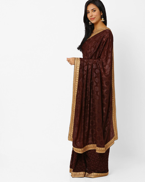 Embroidered Chiffon Saree By Akoya ( Brown )