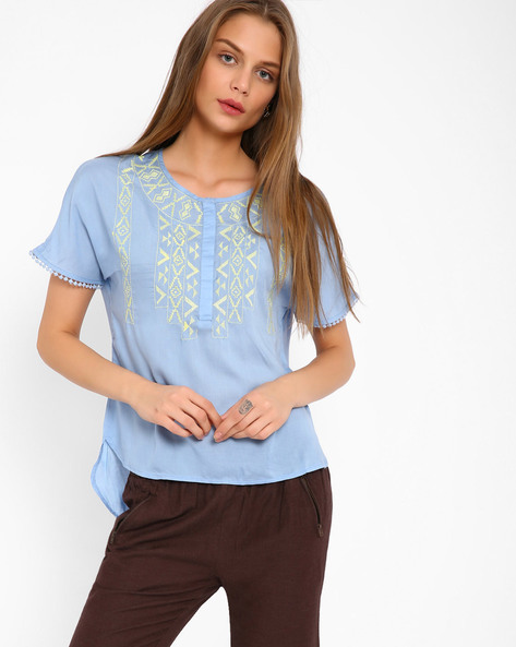 Embroidered Top With High-Low Hem By Oxolloxo ( Blue )