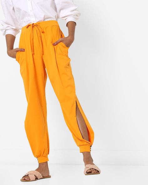 Cuffed Track Pants With Drawstring Waist By AJIO ( Mustard )