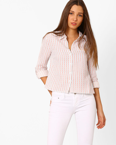 Striped Shirt With Patch Pocket By Vero Moda ( White )