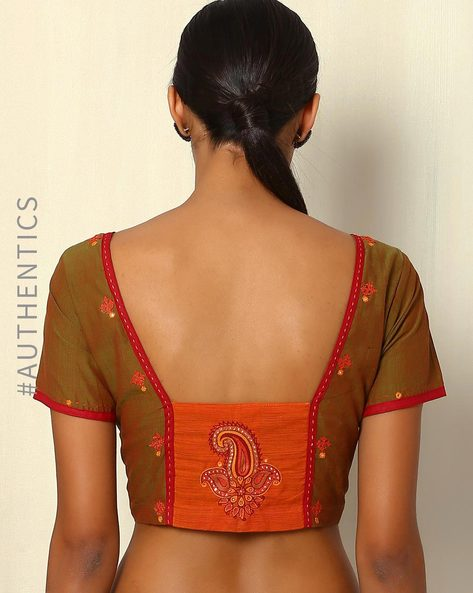 Mangalgiri Hand-Embroidered Cotton Blouse By Indie Picks ( Green )