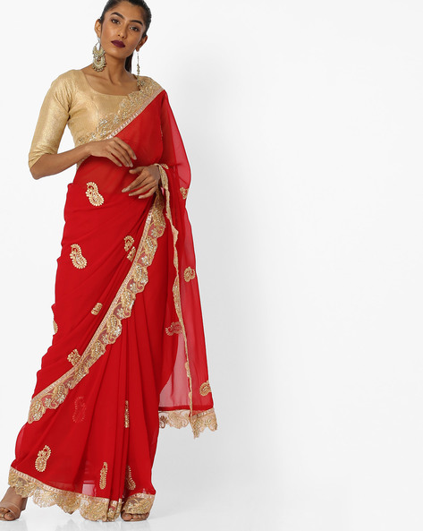 Saree With Zari Embroidery By CHHABRA 555 ( Red )