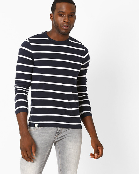 Striped Regular Fit T-shirt By Celio ( Navyblue )