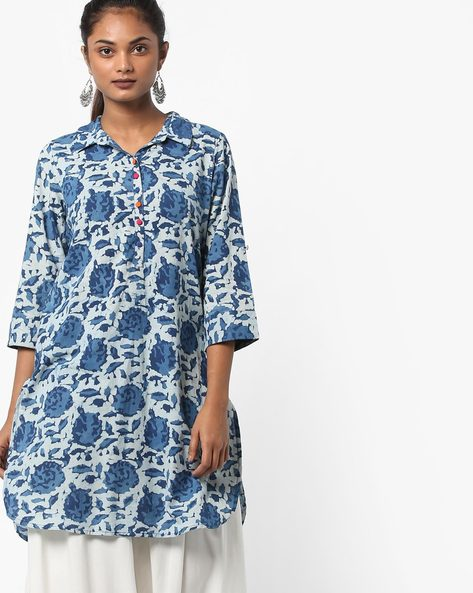 Floral Print Kurta With Shirt Collar By Melange By Lifestyle ( Indigo )