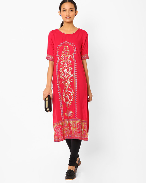 Printed Straight Kurta By AURELIA ( Pink )