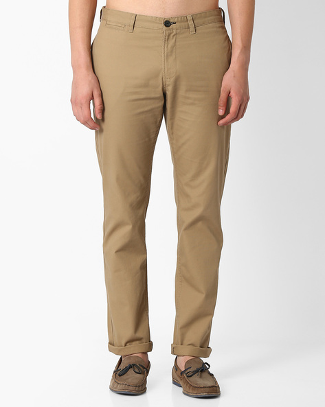 Mid-Rise Slim Fit Chinos By NETPLAY ( Beige )