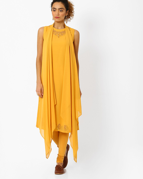 Straight Kurta With Embroidery By AJIO ( Yellow )