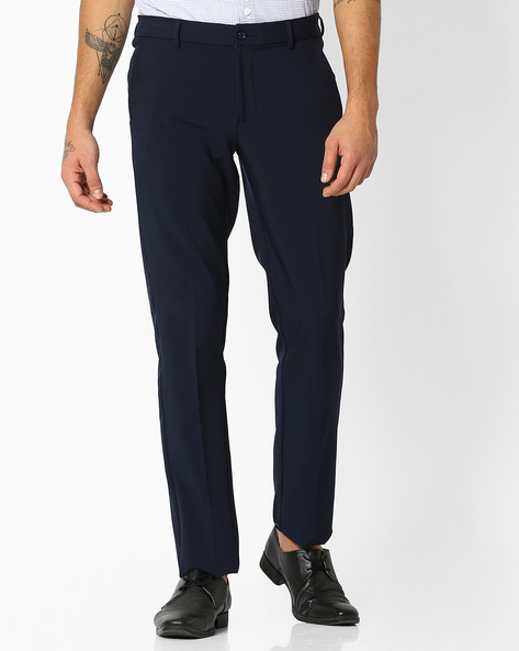 Flat-Front Slim Fit Stretch Trousers By NETWORK ( Navy )