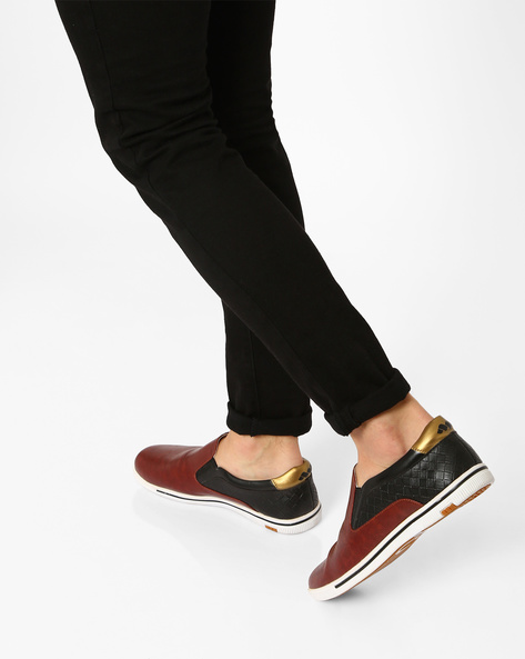 Faux-Leather Textured Slip-Ons By Spunk ( Maroon )
