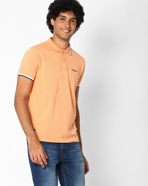 Regular Fit Polo T-shirt By Pepe Jeans ( Orange )