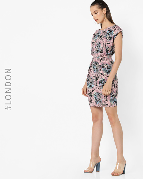 Floral Print Shift Dress With Gathered Waist By Closet London ( Multi )