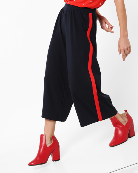Mid-Rise Culottes With Contrast Stripes By Only ( Blue )