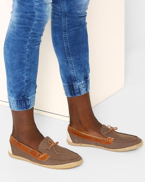 Fabric Espadrilles With Boat Shoe-Styling By FAMOZI ( Brown )