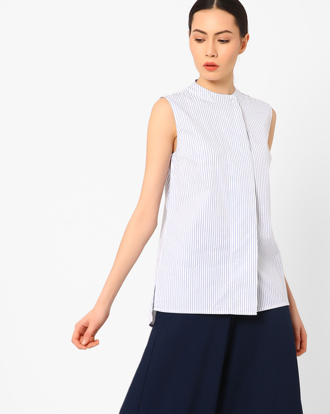 Striped High-Low Sleeveless Shirt By AJIO ( White )