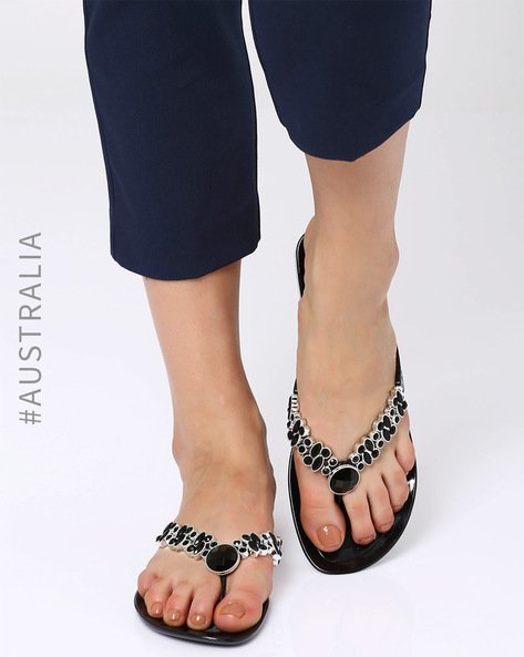 Embellished Pandora Jelly Flats By Holster ( Black )