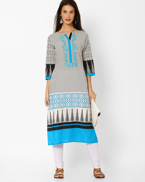 Printed Cotton Straight Kurta By Shakumbhari ( Cream )