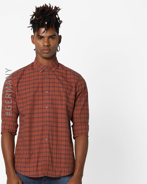 Checked Shirt With Button-Down Collar By Tom Tailor ( Orange )