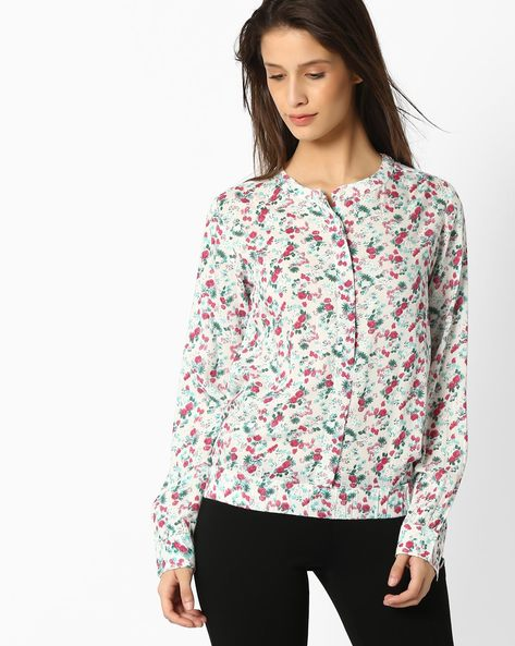 Floral Print Shirt With Mandarin Collar By DNMX ( Offwhite )