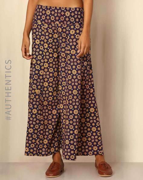 Handblock Print Cotton Palazzo Pants By DRAP ( Multi ) - 460043996004