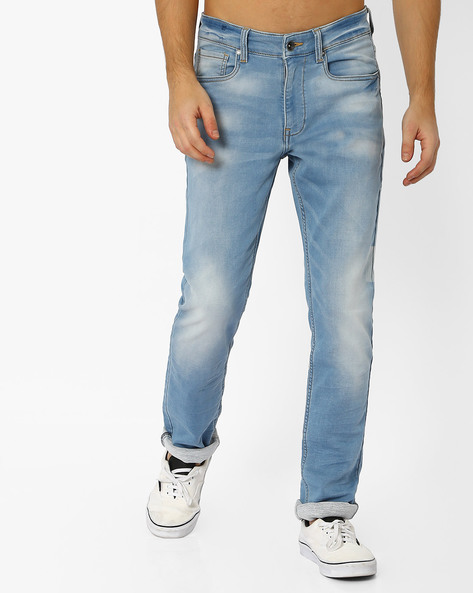 Slim Tapered Knitted Jeans By AJIO ( Lightblue )