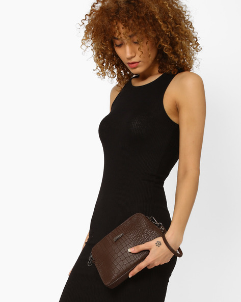 Sling Bag With Reptilian Pattern By Lino Perros ( Brown )