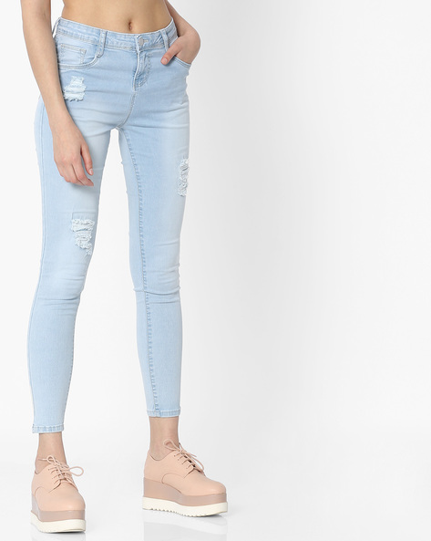 Skinny Fit Distressed Jeans By KRAUS ( Ltblue )
