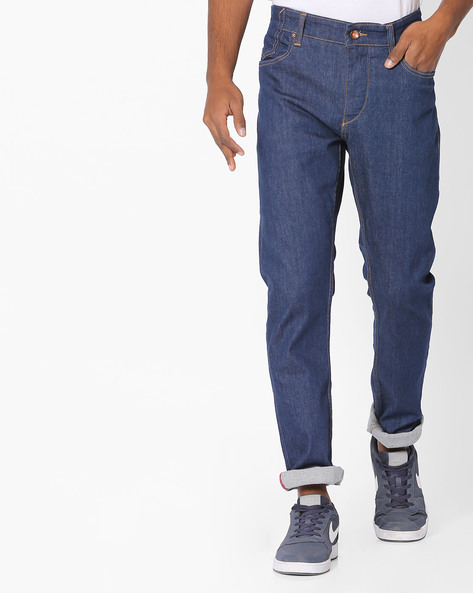 Slim Tapered Fit Jeans By AJIO ( Blue )