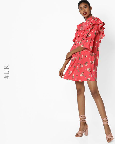 A-line Dress With Bell Sleeves By INFLUENCE ( Pink )