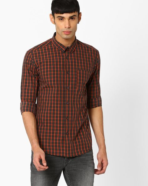 Checked Slim Fit Shirt By VOI JEANS ( Brown )