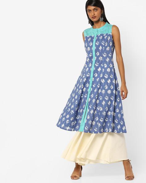 Floral Print Kurta With Princess Seam By AJIO ( Blue )